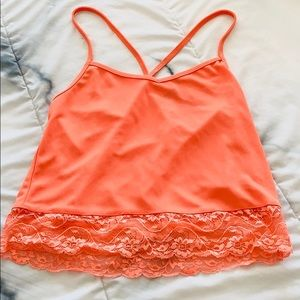 H&M Pink Tank Top With Lace Trim